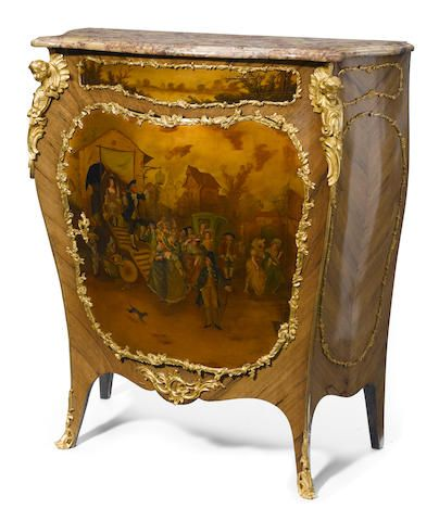 A Louis XV style gilt bronze mounted Vernis Martin decorated