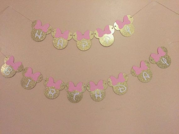 Minnie Mouse Happy Birthday Banner minnie mouse banner pink