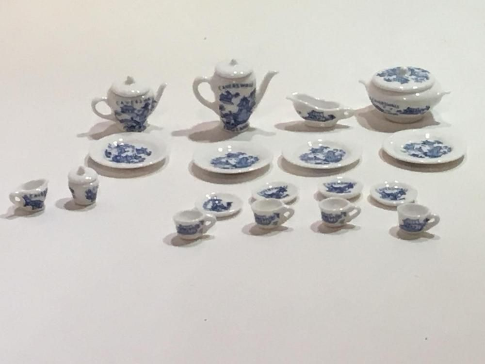 Caverswall England 22 Dollhouse Miniature Porcelain Blue White China Set Artisan