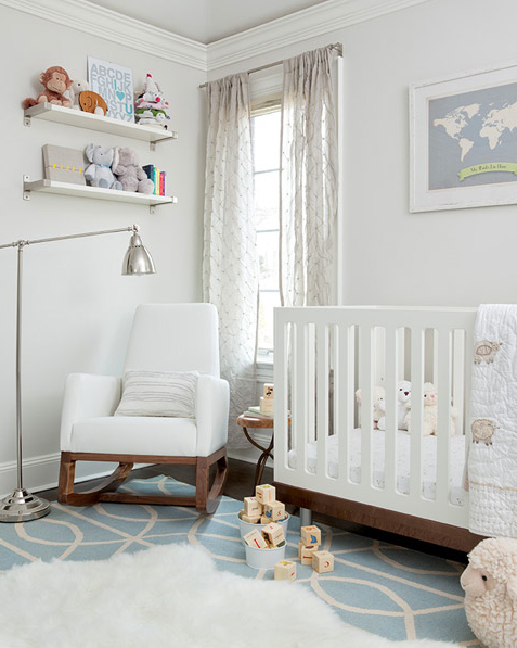Nurseries Dwell Studio Gate Azure Cream Rug Pale Gray Walls Ceiling White Shelves Modern