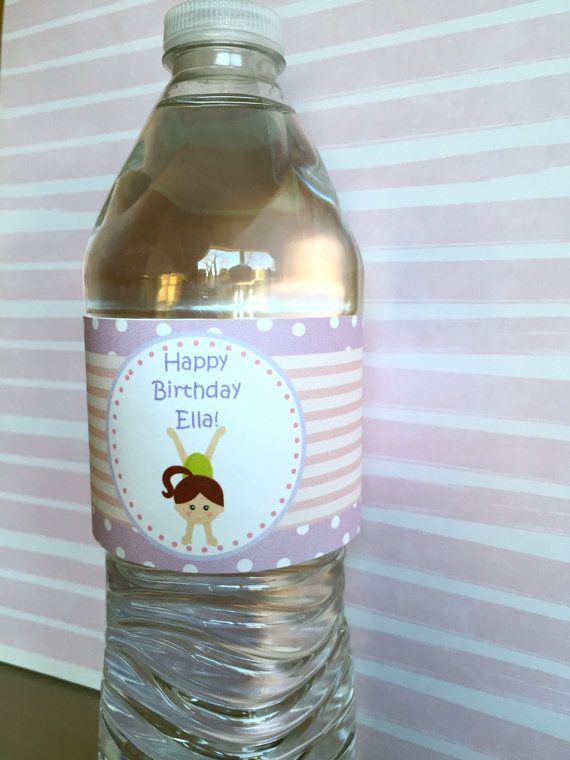Gymnastics Party Water Bottle Labels Gymnastics Party by Kbettega