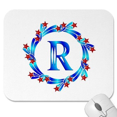 Blue Letter R Monogram Red Stars Mouse Pads
