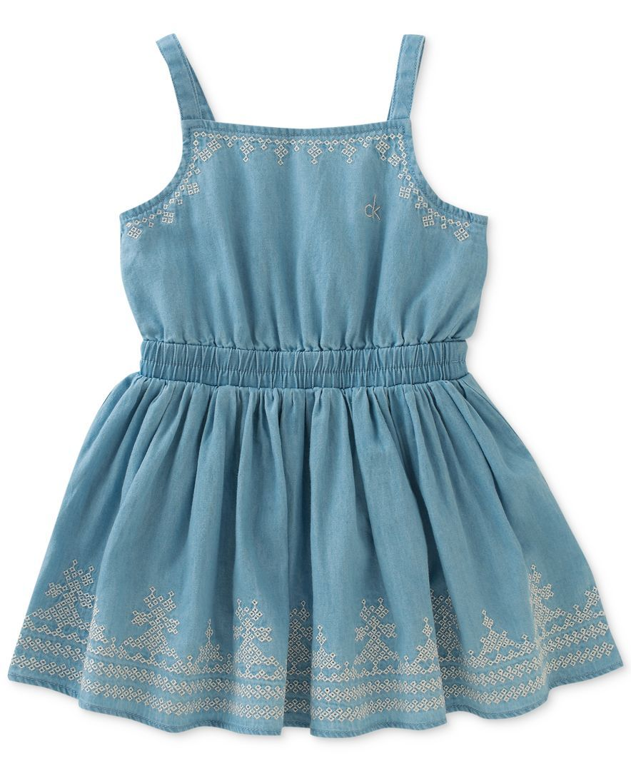 864ea9942 Calvin Klein Embroidered Denim Cotton Dress