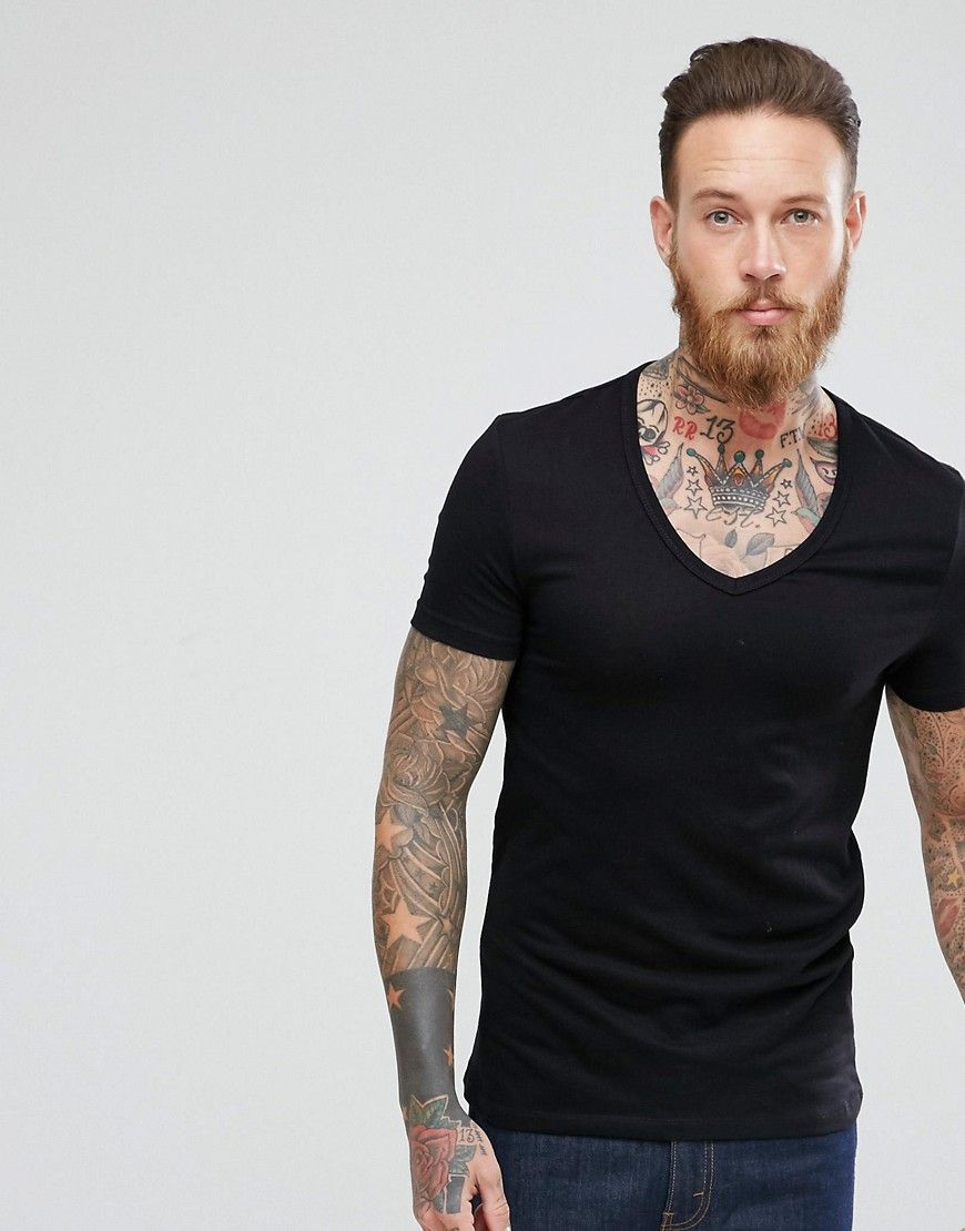 071017e7062c ASOS Extreme Muscle Fit T-Shirt With Deep V Neck And Stretch In Black