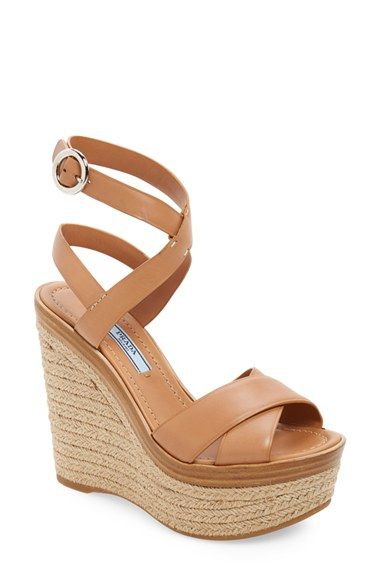 62857269153 Prada Strappy Wedge Sandal (Women) available at  Nordstrom