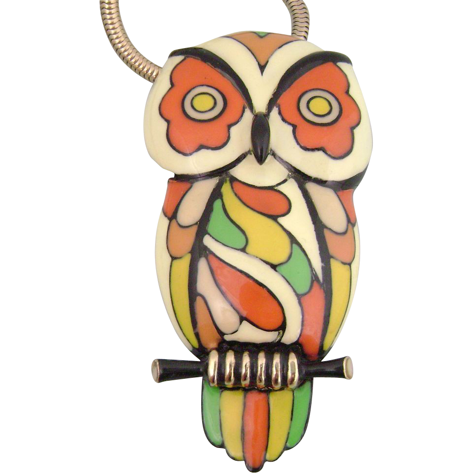 1970's Mod Op Art EISENBERG Enamel Owl Necklace
