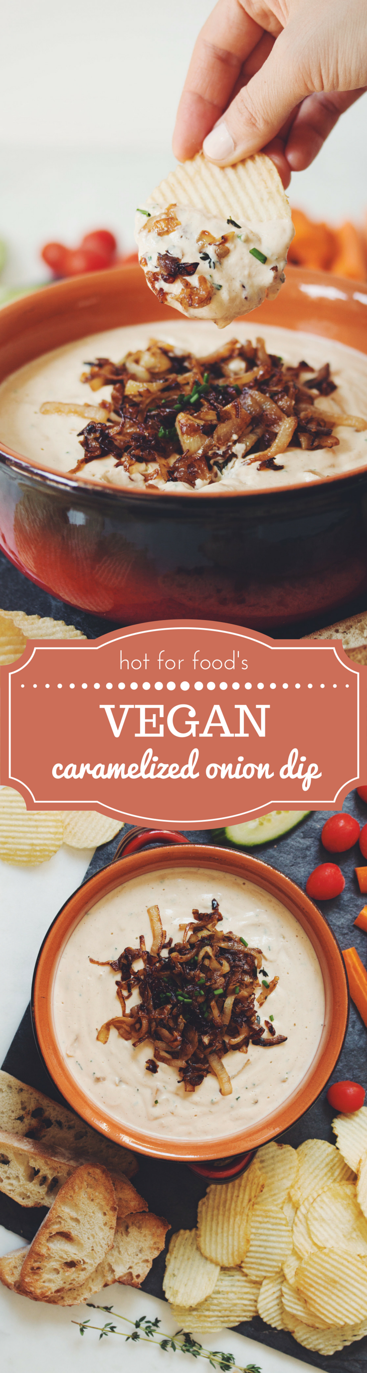 vegan caramelized onion dip | RECIPE on hotforfoodblog.com