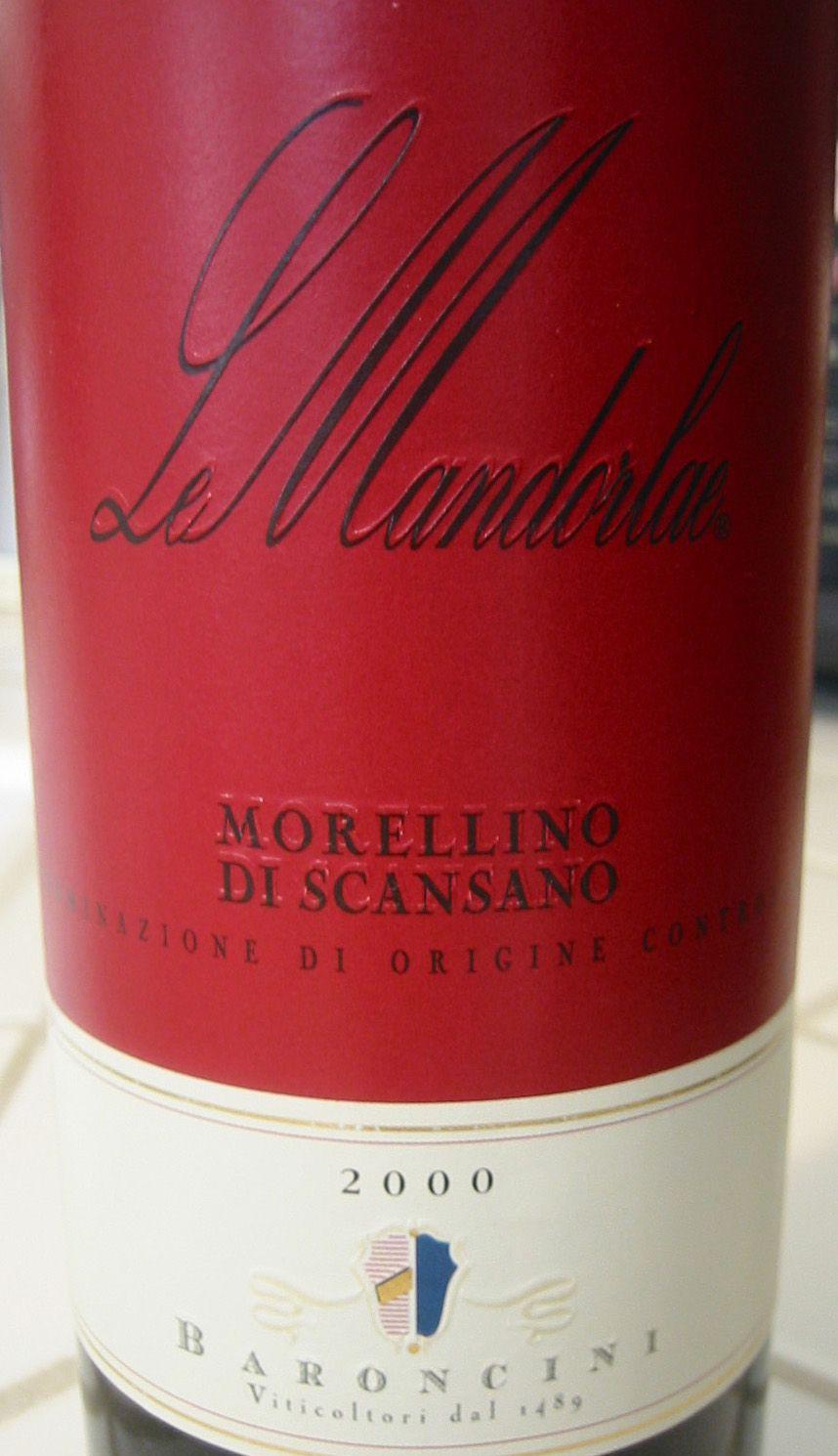 2000 Baroncini Morellino Di Scansano Le Mandorlae Wine Bottle Wine Down Rose Wine Bottle