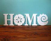 HOME, beach, coastal, word sign, beach cottage, shabby chic, sand dollar, seashell, housewarming gift