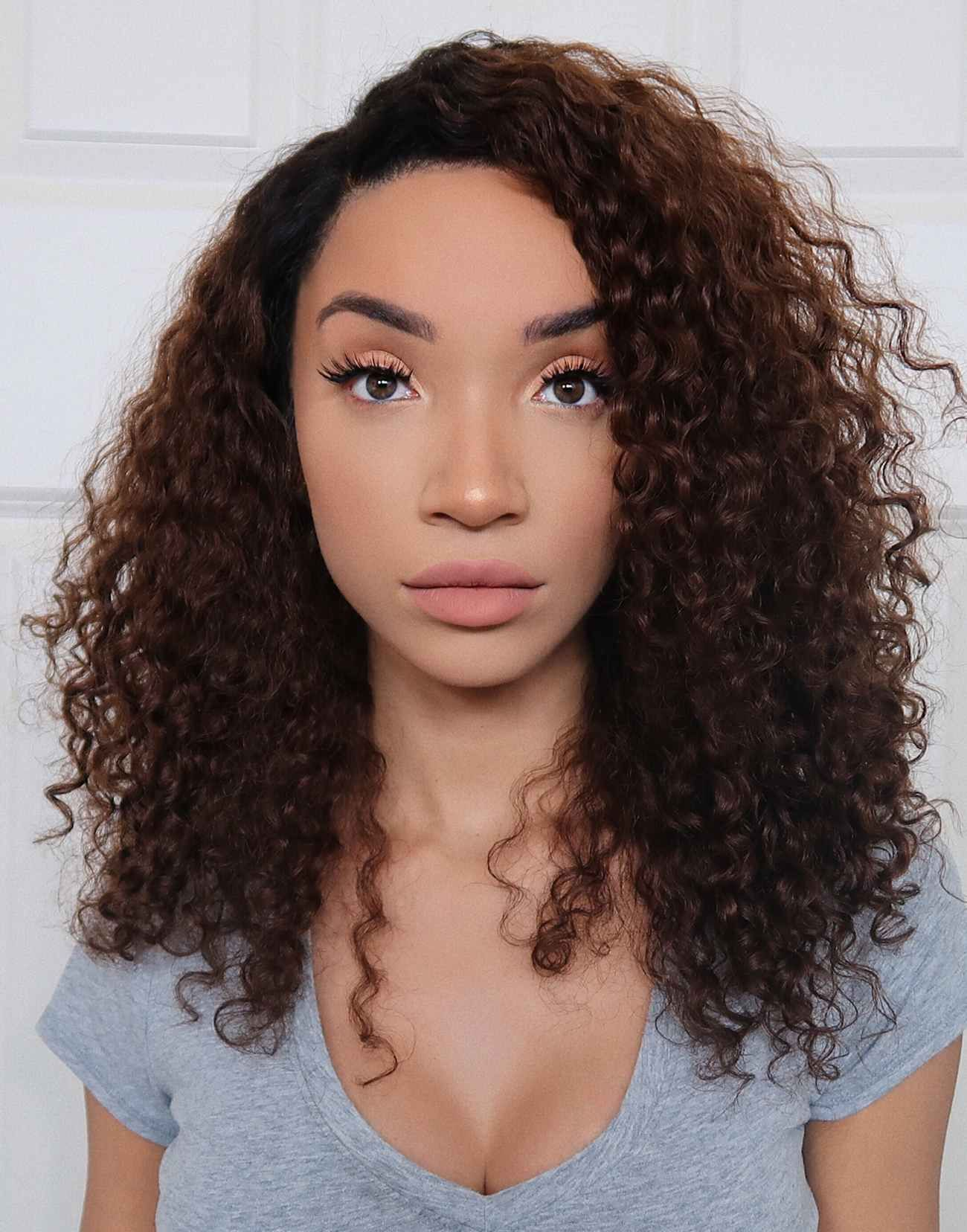 raven – ombre curly hair human hair lace front wigs - lfc005