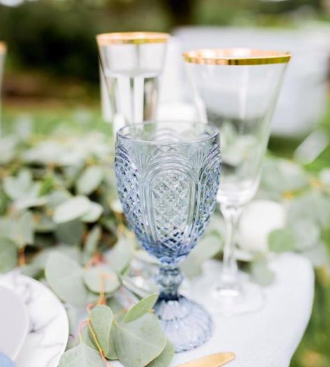 Light Blue Water Goblet Carousel Gold Rim Champagne Flutes Blue Gold Wedding Hawaiian Wedding Inspiration Wedding Goblets