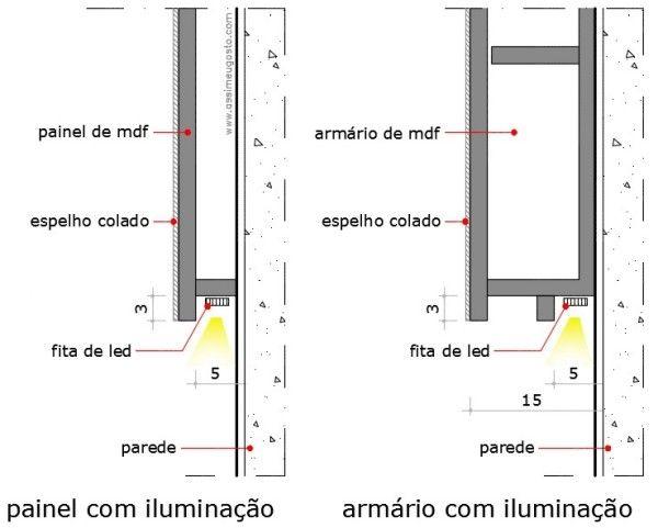 Banheiros Com Iluminacao Embutida Atras Do Espelho Com Imagens