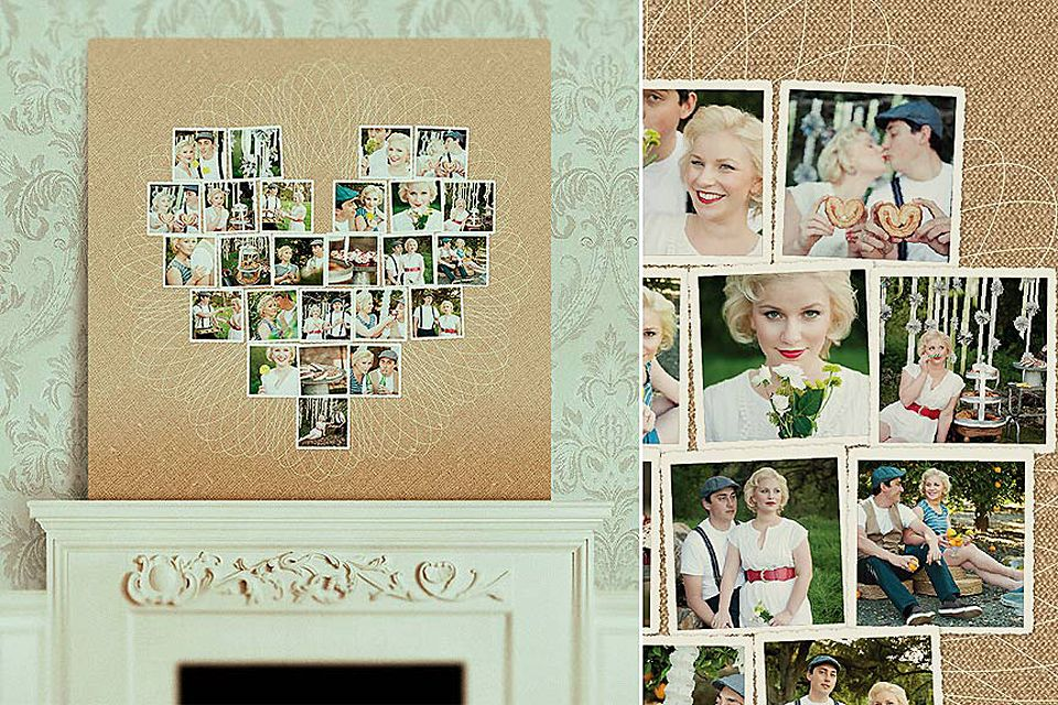 Canvas Collages Creative Products Wedding Photo Display Heart