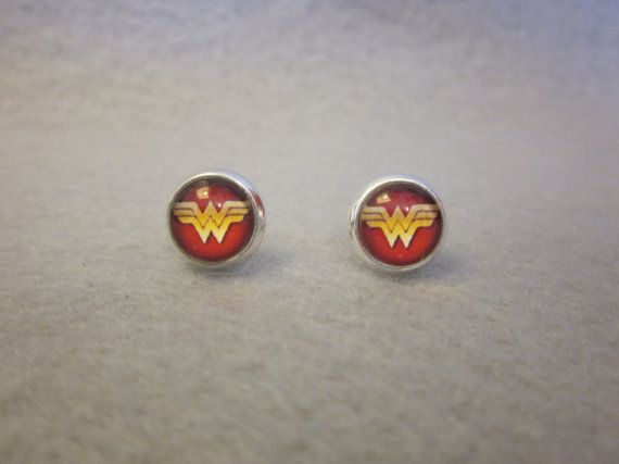 d73e9e712 Wonder Woman Stud Earrings with Silver Rim by ABitofImagination, $10.50