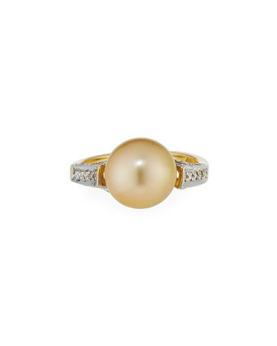 Belpearl 18k Golden South Sea Pearl Ring, Size 7.5
