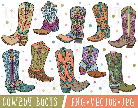 Cowboy Boot Clipart Cute Cowgirl Boot Clipart Cowboy Boot Clip Art Cute Western Clipart Cowboy Boots Graphics Commercial Use Clipart Cowboy Boots Pink Cowgirl Boots Clip Art