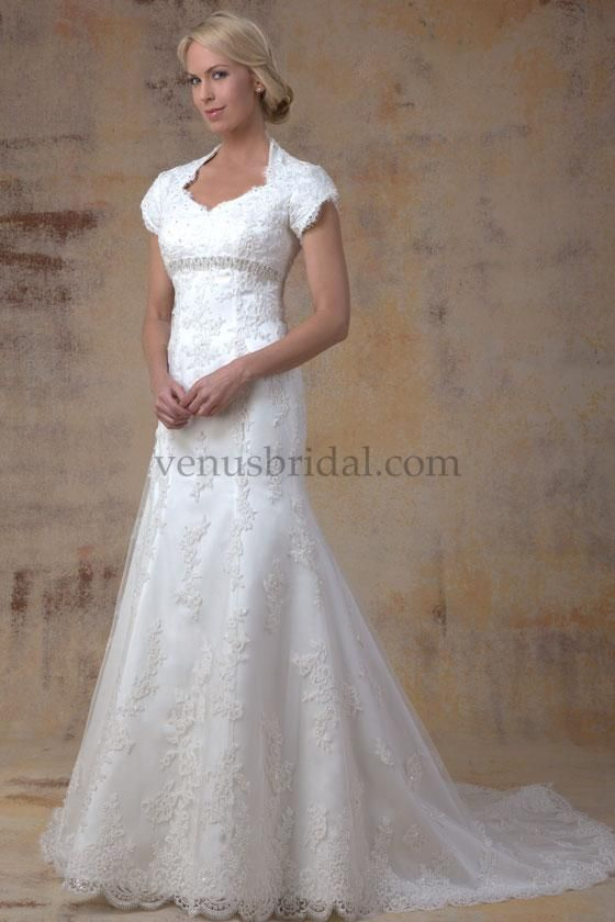 Venus Modest Wedding Dresses Fall All Over Lace Gown With Queen Anne Neckline