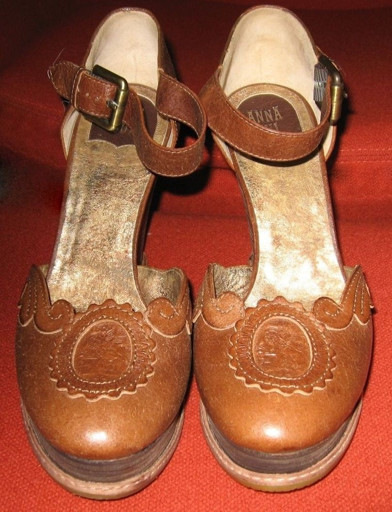 Anna Sui camel leather wedge heeled sandals with embossed griffins