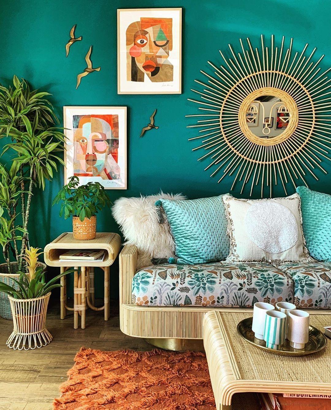 Photo of Prachtige Inspiratie voor een Bohemian Woonkamer in Groen en Blauw