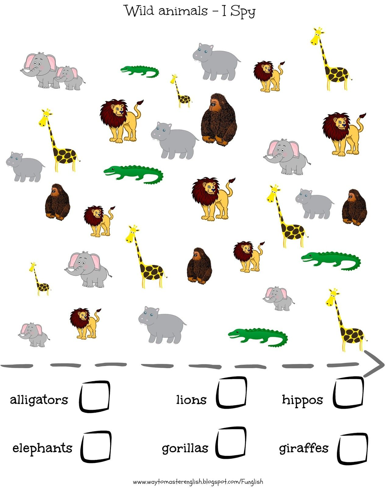 Worksheets I Spy Worksheets wild animals vocabulary i spy kids young learners learners