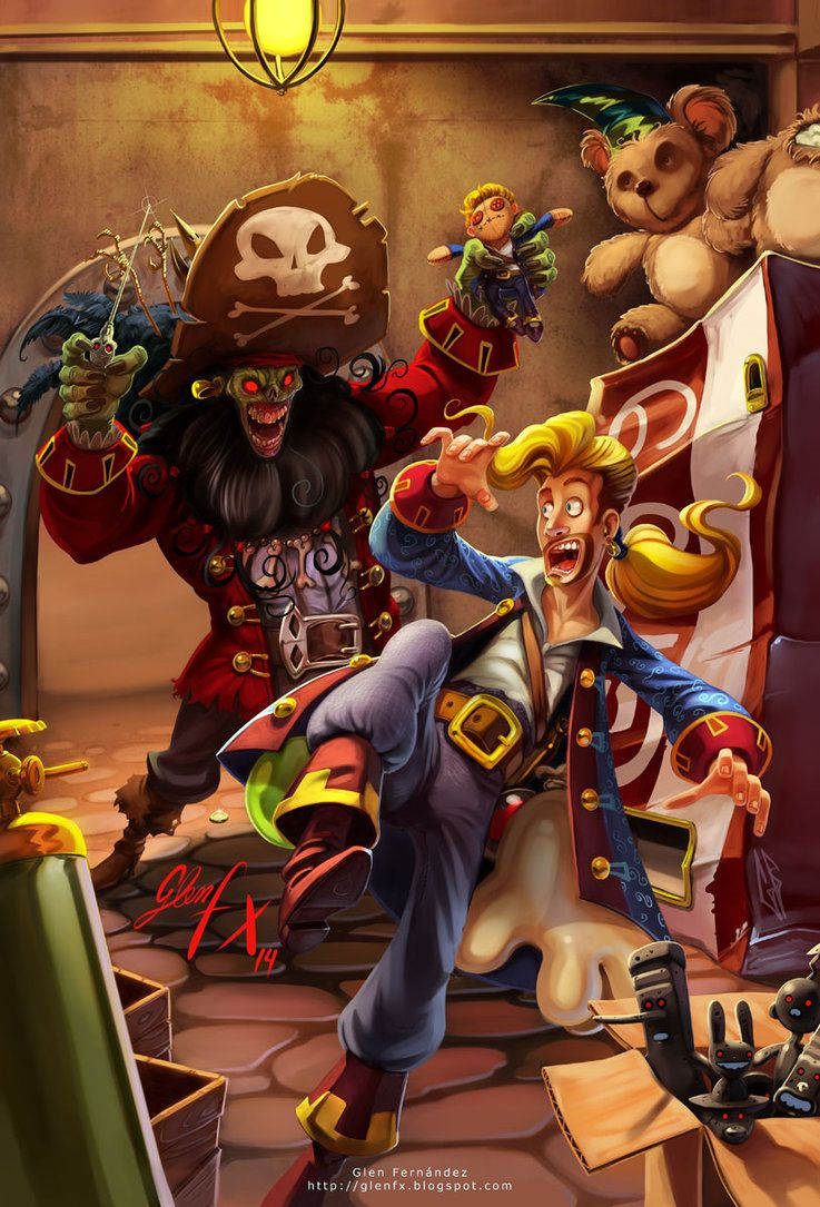 Monkey island 2 lechuck s revenge concept art the international - I Wanted To Paint A Fanart Tribute Of My Favorite Game Monkey Island I Love The Zombified Lechuck In That Game So I Chose The Final Confrontation F