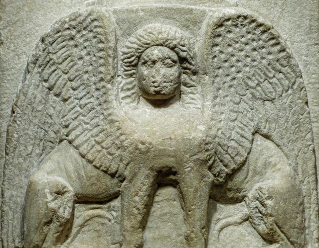 Closeup Of A Sphinx To Ward Off The Evil Eye On A Gravemarker Honoring Two Warriors Archiades And Polemonikos Greek 400 Bce Marble Sfinks Skulptura Galereya