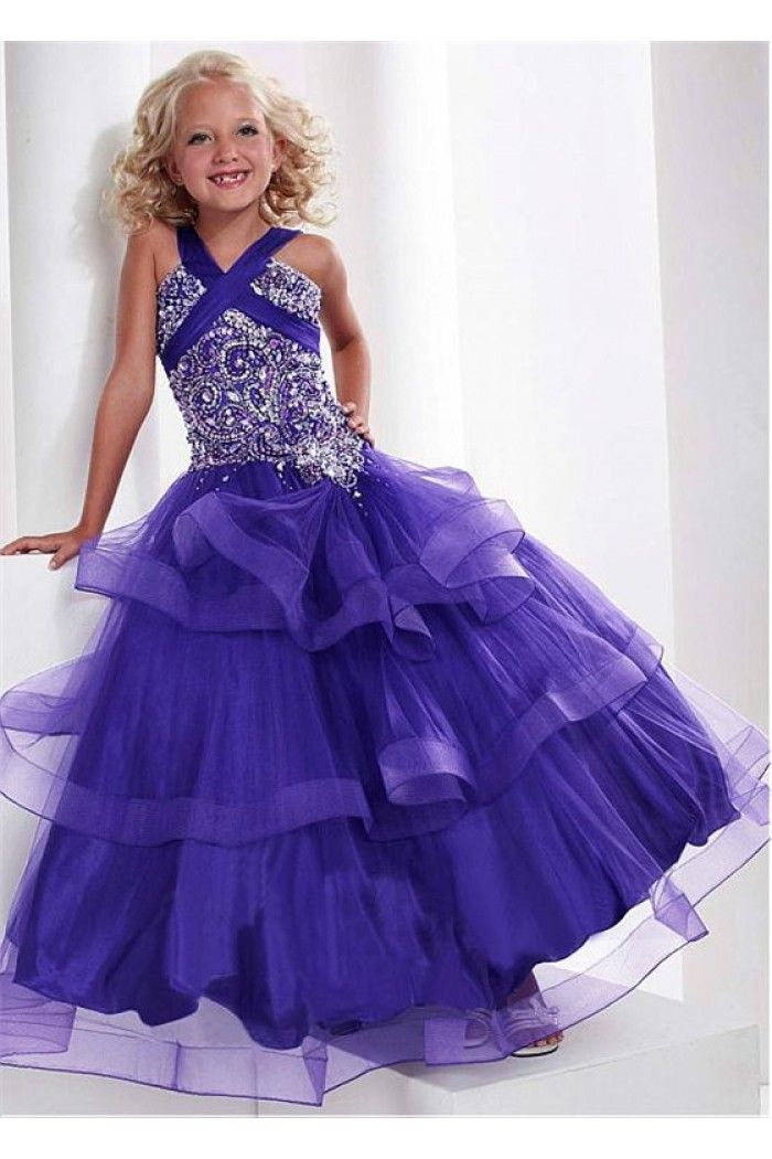 Puffy Ball Gown Purple Tulle Ruffle Little Girls Occasion Pageant ...