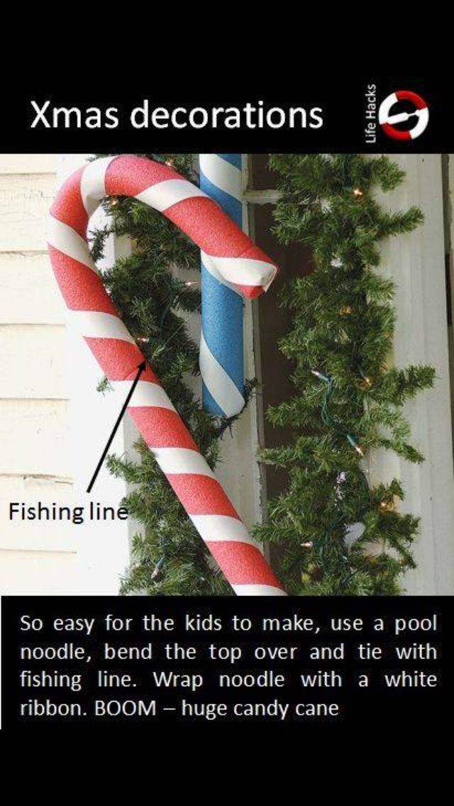 Easy outdoor Christmas decorations! With cheap pool noodles - I like