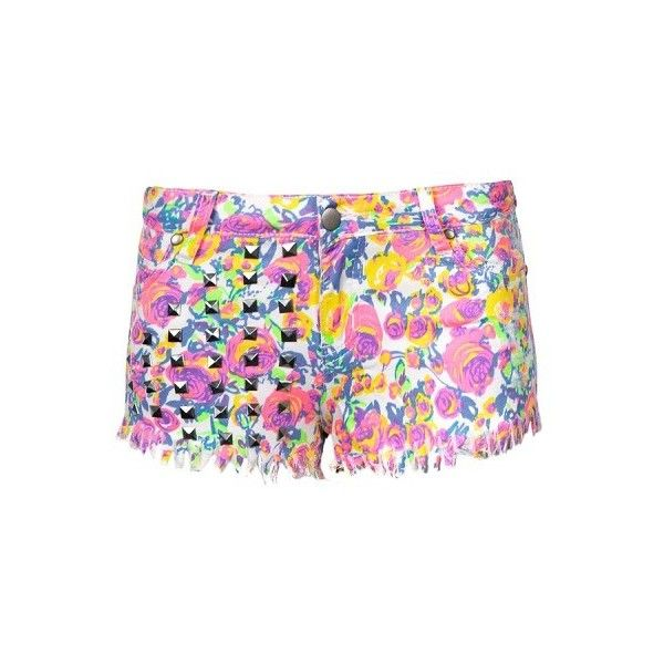 NEON FLORAL DENM SHORT W/STUDS ($25) ❤ liked on Polyvore featuring shorts, bottoms, studs, studded shorts, floral shorts, short shorts, floral printed shorts and floral print shorts