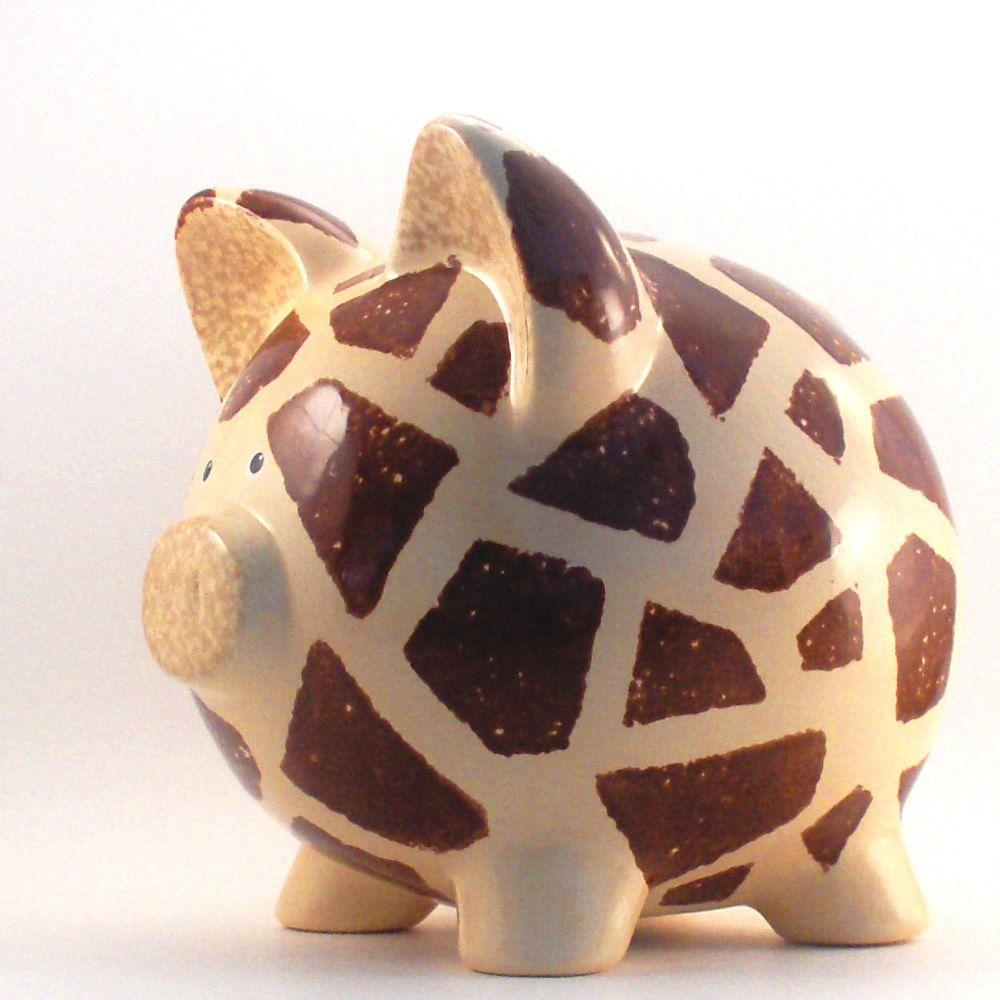 Giraffe Piggy Bank Personalized Jungle Theme Safari Baby Nursery