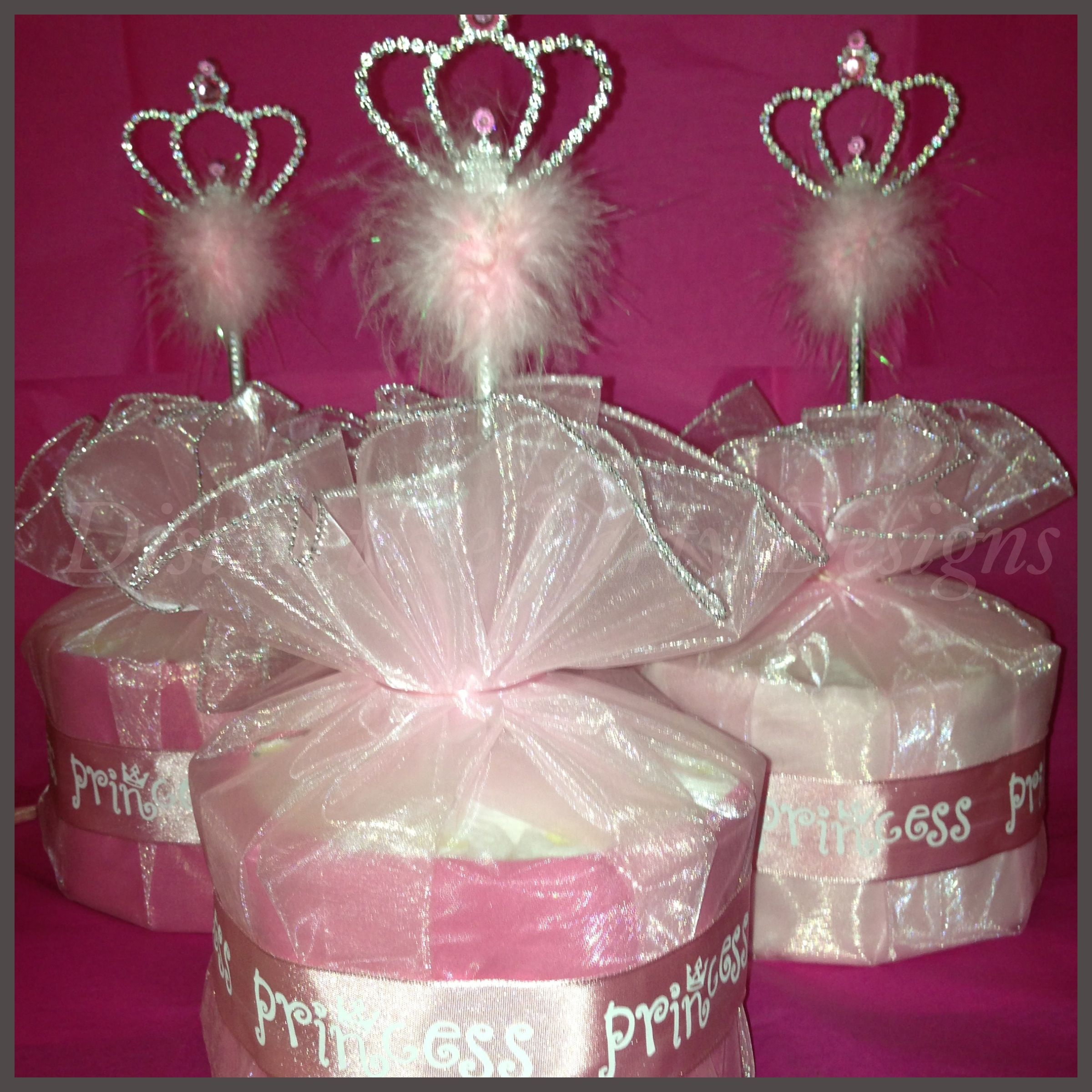 Mini Diaper Cake Table Centerpieces Created For A Princess Theme