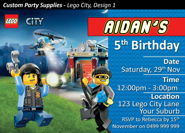 Lego City Lego Movie Birthday Invites / Invitations Personalised ...