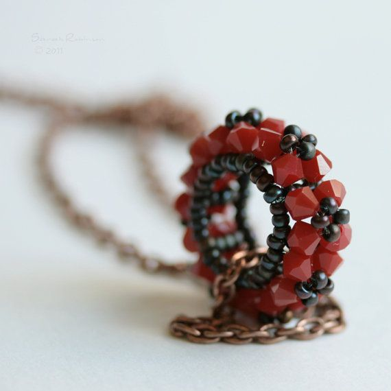 Red Swarovski Pendant Corail Mini Rosco Handbeaded by SarahRobinL, $22.00