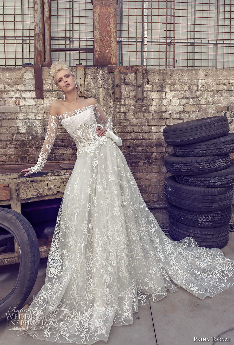 19381433 pnina tornai 2019 love bridal long sleeves off the shoulder straight across  neckline full embellishment romantic modified a line wedding dress sheer  lace ...