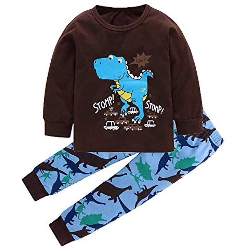 SUNBIBE Kids Baby Girls Pullover Tops Cartoon Dinosaur Print Toddler Casual T-Shirt Sweatshirt Outdoor Tracksuit Tops