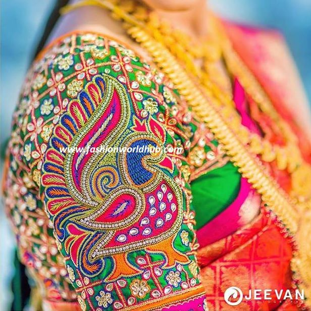Look At The Beautiful Embroidery Peacock Thread Work With A Color