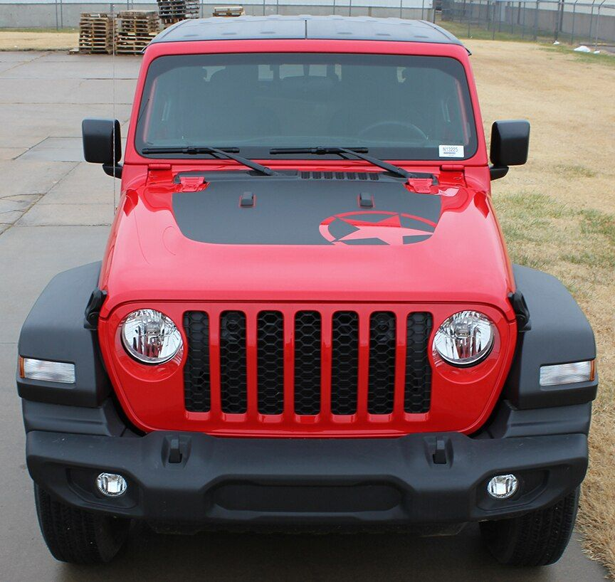 Omega Hood Jeep Gladiator Hood Decals With Star Vinyl Graphics Stripes For 2020 2021 Jeep Gladiator Vinyl Graphics Car Vinyl Graphics