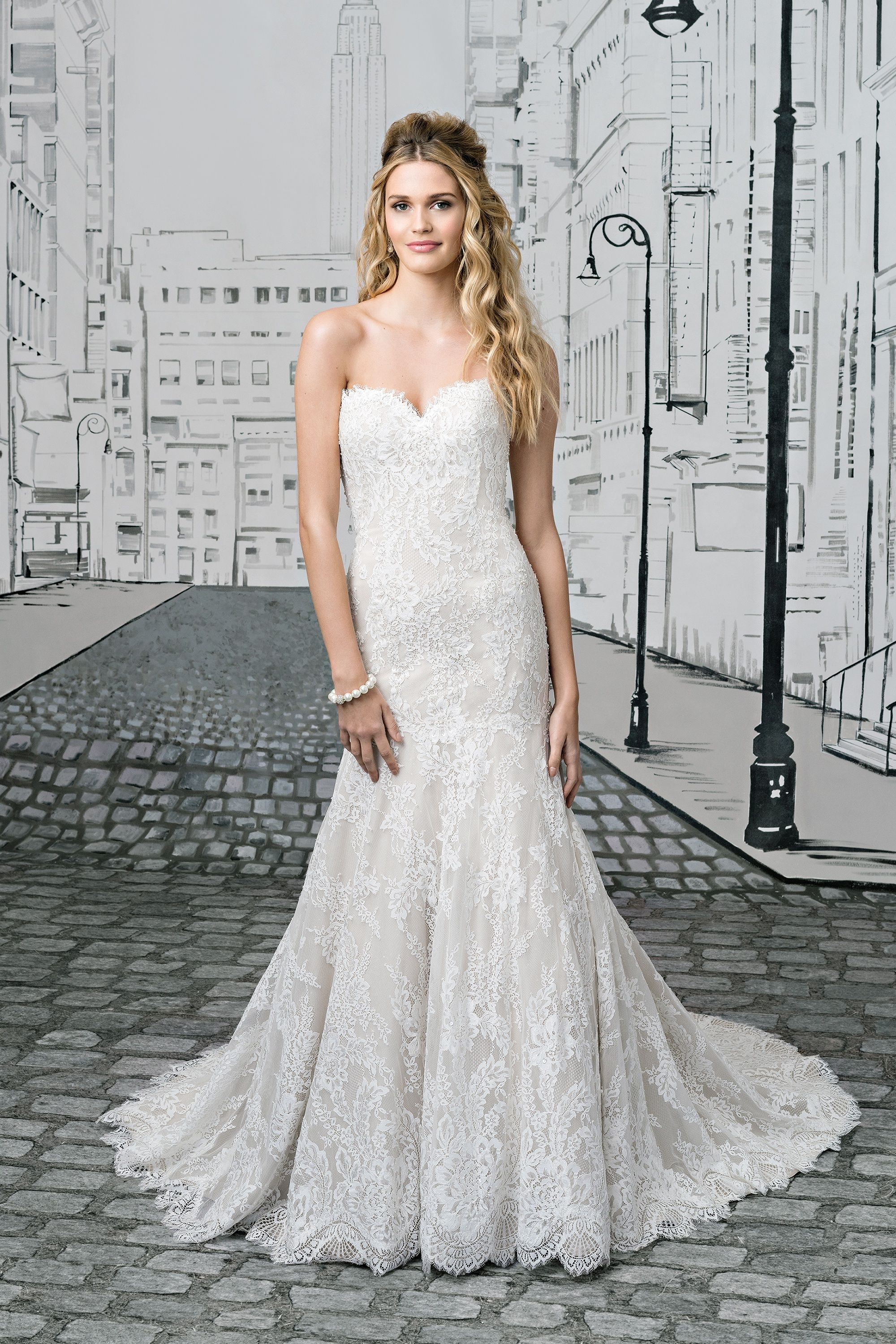 Style 8893 Lace Sweetheart Neckline Gown With Dropped Waistline