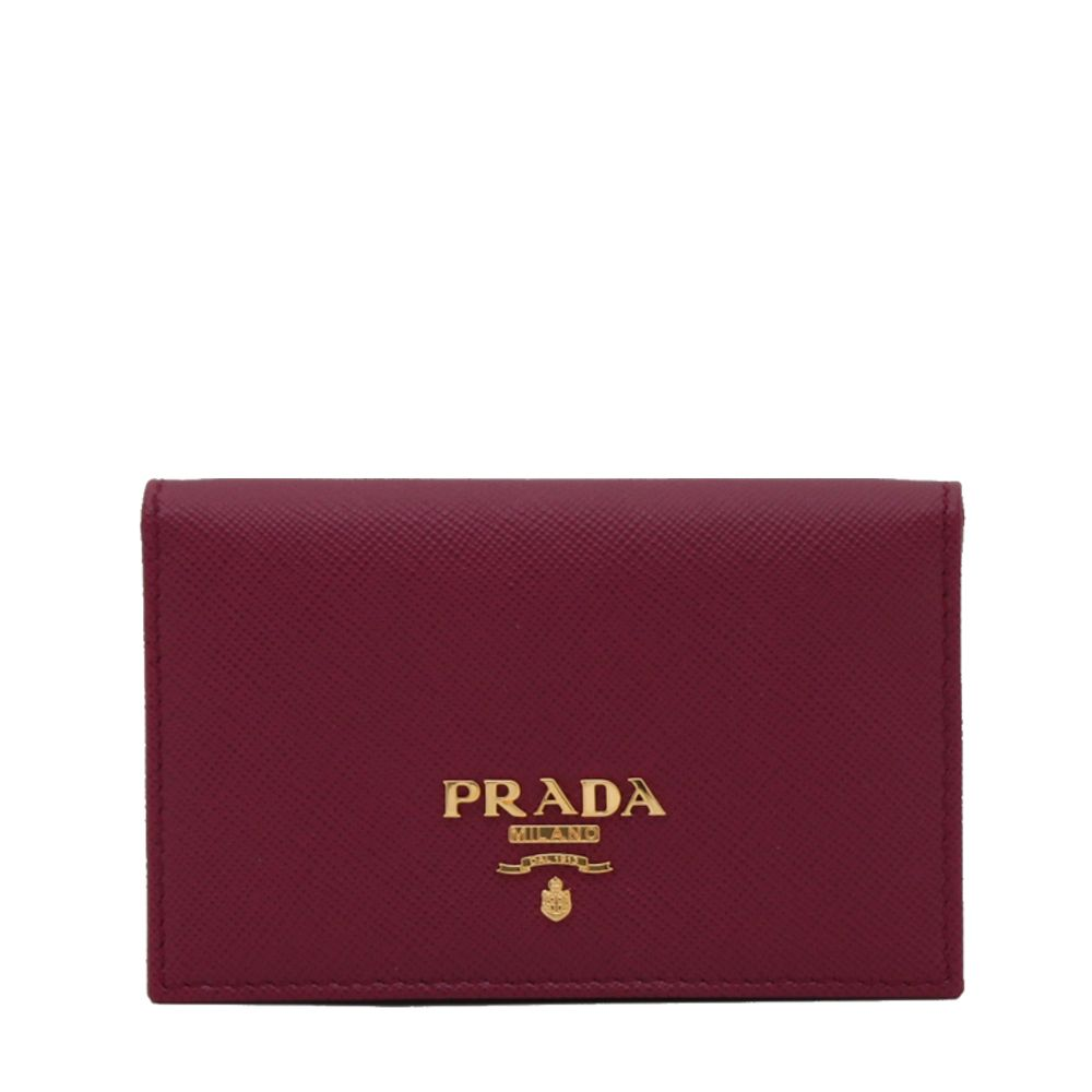 Prada 1M1122 Saffiano Leather Business Card Holder with Snap Closure ...