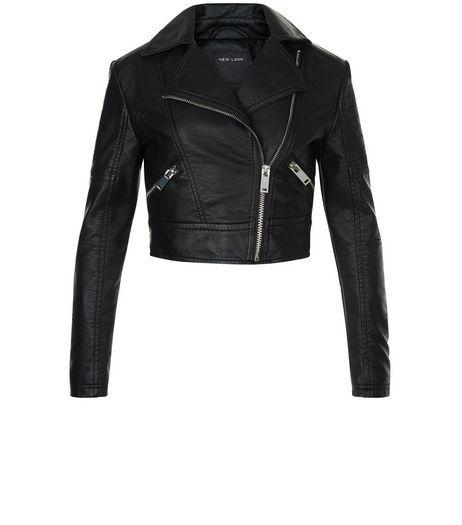 1f8d4dde8 Girls Black Leather-Look Biker Jacket