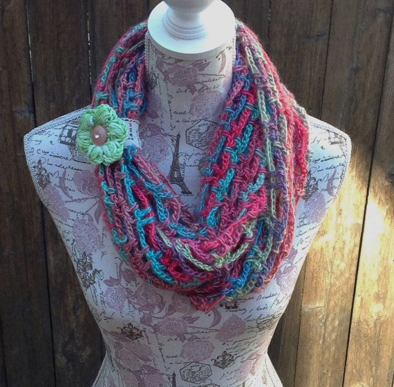 Crochet infinity circle wrap scarf with lace scarf by ChicSacs