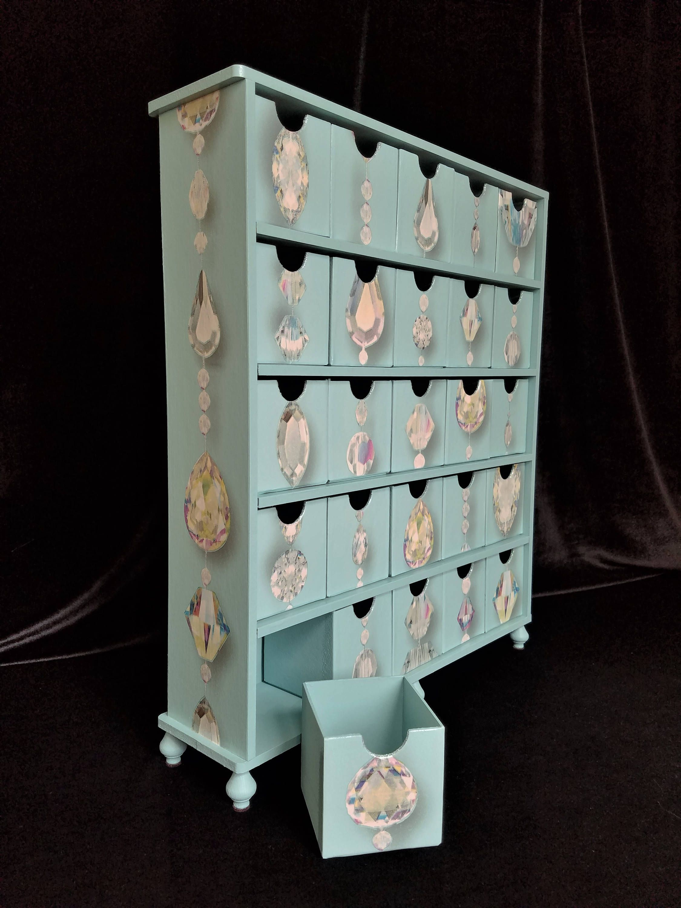 Large Jewelry Box, 25 Drawer Storage Chest, Diamonds And Crystal, Turquoise Apothecary  Cabinet
