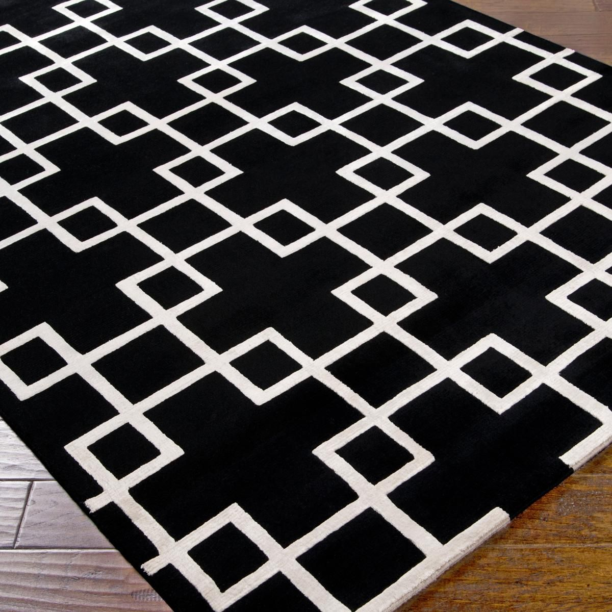 Black And White Geometric Kitchen Rug: Modern Squares Plush Wool Handknot Rug You Can't Be Shy