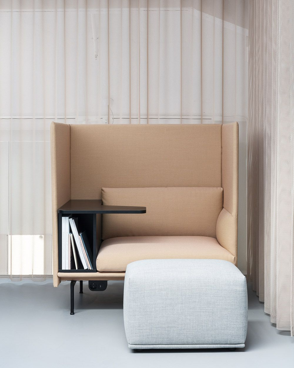 Modern and minimal office space decor inspiration from Muuto: The Outline Highback Work combines the soft, deep seat and clean refined lines of the Outline series with a highback element and functional elements, allowing for the design to create an acoustic and spatial shelter to work and focus on the given task at hand. #scandinaviandesign #homedecor