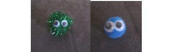 pom pom googly eye swaps - cute in green for gs