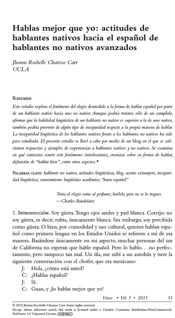 Hablas Mejor Que Yo Actitudes De Hablantes Nativos Hacia El Espanol De Hablantes No Nativos Avanzados Espanol Partes De La Misa Hablar Espanol