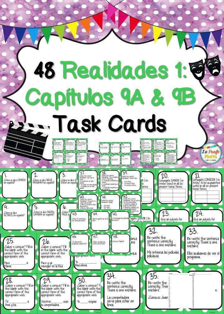 Printable Worksheets realidades 1 worksheets : Spanish Realidades 1: Capítulos 9A & 9B Task Cards | Textbook ...