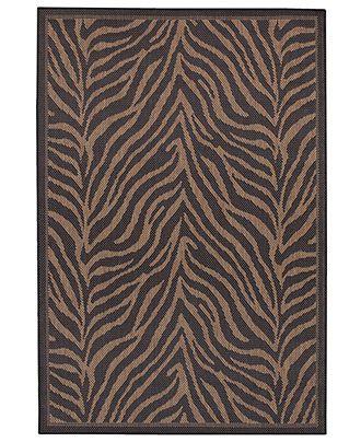 """Couristan Area Rug, Recife Indoor/Outdoor Zebra Black/Cocoa 7' 6"""" x 10' 9"""" - 8 x 10 Rugs - Rugs - Macy's"""