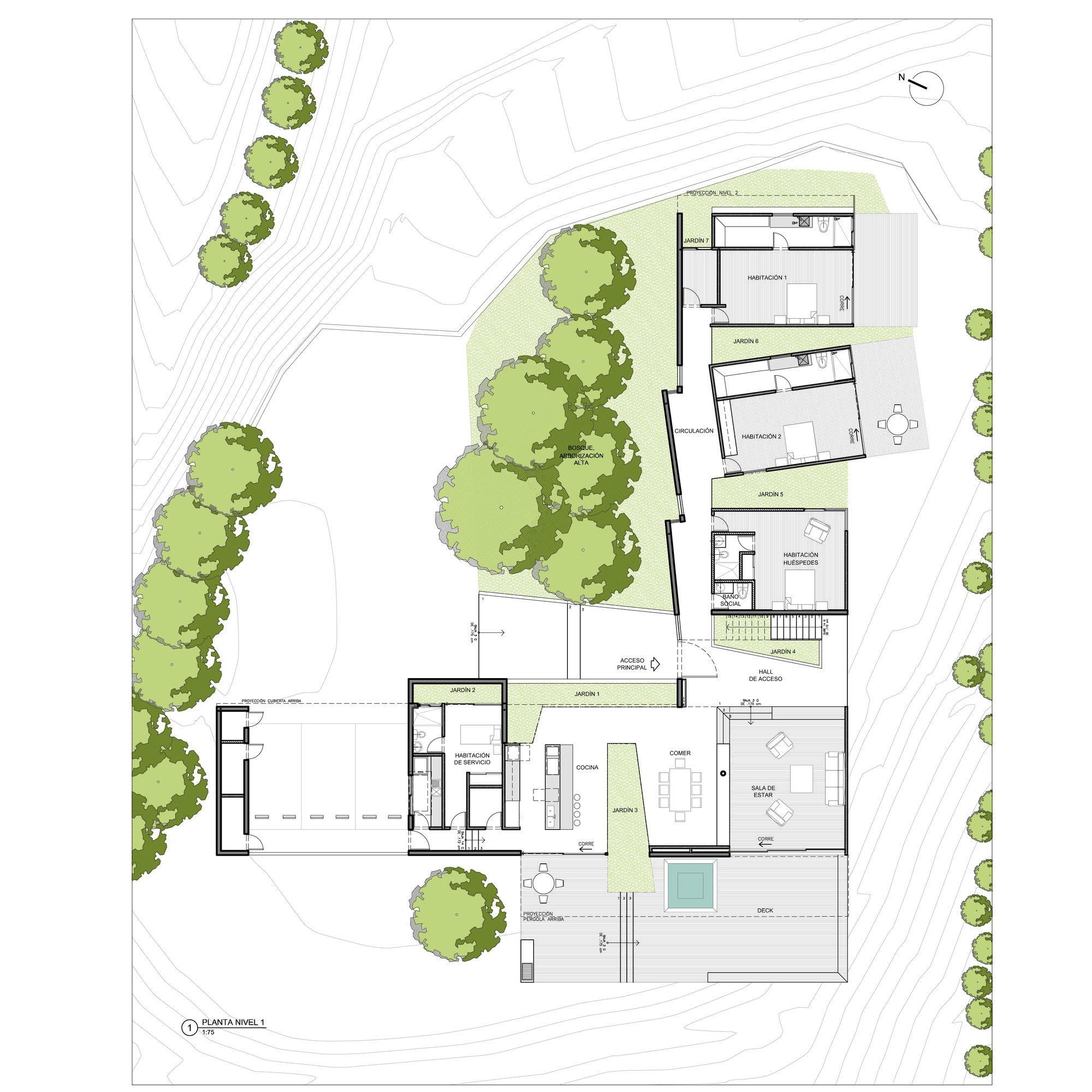 Galer a de casa entre jardines planta baja estudio for Arquitectura 5 de mayo plan de estudios