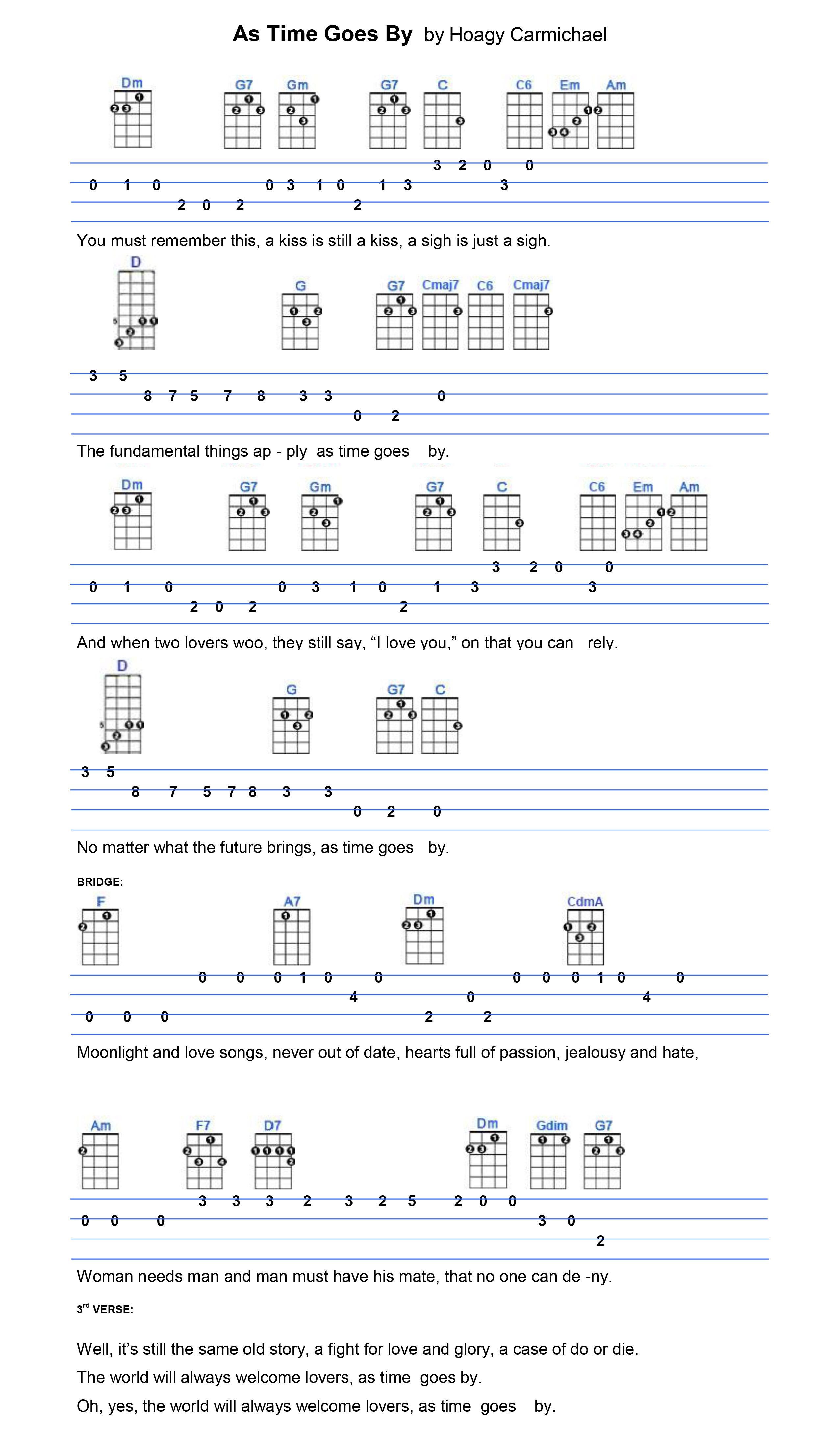 As Time Goes By Ukulele Music Pinterest Songs Guitars And